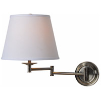 Architect 13 inch 150 watt Dark Antique Brass Wall Swing Arm Lamp Wall Light in Cream