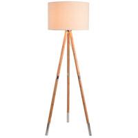 Kenroy Lighting 32988NWBS Jordon 15 inch Natural Wood and Brushed Steel Floor Lamp Portable Light