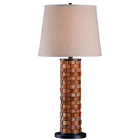 Kenroy Lighting Shaker 1 Light Table Lamp in Dark Woven Wood 37014DWW