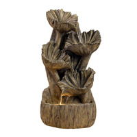 Kenroy Lighting Wood Flower 1 Light Table Fountain in Aged Wood   50005AWD