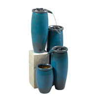 Kenroy Lighting Agua Floor Fountain in Blue Glaze   50008BG