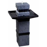 Monolith Dark Stone Outdoor Floor Fountain Home Decor, Solar