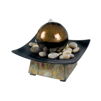 Kenroy Lighting Sphere Table Fountain in Natural Green Slate , Stainless Steel Ball  50235SL