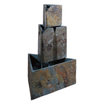Stacked Triangles Natural Slate Outdoor Floor Fountain Home Decor
