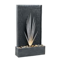 Kenroy Lighting Plaza 1 Light Floor Fountain in Natural Gray Slate with Decorative Metal Accents  50377GYSL photo thumbnail