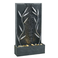 Kenroy Lighting Courtyard 1 Light Floor Fountain in Natural Gray Slate with Decorative Metal Accents  50378GYSL