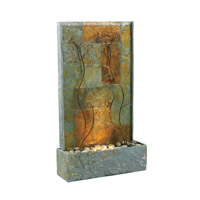 Kenroy Lighting Copper Vines 1 Light Floor Fountain in Natural Green Slate with Decorative Metal Accents  50379SL