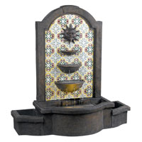 Kenroy Lighting Cascada 1 Light Floor Fountain in Madrid  with Patterned Tile Motif  50721MD