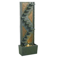 Kenroy Lighting Traverse 1 Light Floor Fountain in Natural Green Slate with Natural Copper Accents  53205SLCP