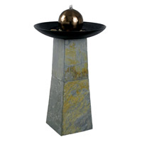 Kenroy Lighting Sleek Floor Fountain in Natural Green Slate with Copper ed SS Ball  53226SL