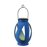 Leaves LED 7 inch Black Lantern Ceiling Light in Blue Ceramic, Solar