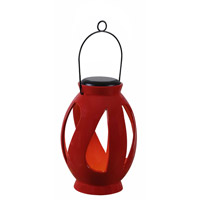 Leaves LED 7 inch Black Lantern Ceiling Light in Red Ceramic, Solar