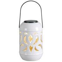 Lydia LED 6 inch White Glaze Lantern Ceiling Light, Solar
