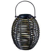 Coil 13 inch 0.24 watt Black Outdoor Portable Lantern, Solar