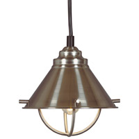 Kenroy Lighting 66342BS Harbour 1 Light 7 inch Brushed Steel Mini Pendant Ceiling Light photo thumbnail