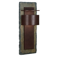 Kenroy Lighting Pembrook 1 Light Outdoor Lantern in Natural Slate with Copper   70287SL