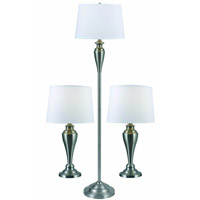 Kenroy Lighting Edson 1 Light 3 Pack - 2 Table/1 Floor Lamps in Brushed Steel   80013BS