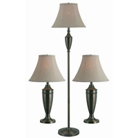 Kenroy Lighting Hogan 1 Light 3 Pack - 2 Table/1 Floor Lamps in Antique Brass   80014AB