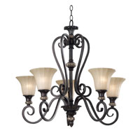 Kenroy Lighting Leafston 5 Light Chandelier in Mercury Bronze  with Brown Marble Accents  80295MBZ photo thumbnail