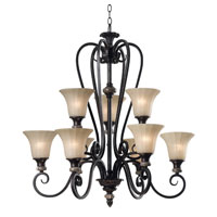 Kenroy Lighting Leafston 9 Light Chandelier in Mercury Bronze  with Brown Marble Accents  80299MBZ