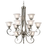 Kenroy Lighting Welles 12 Light Chandelier in Brushed Steel   80478BS