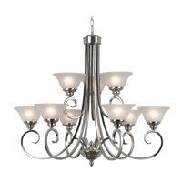 Kenroy Lighting Welles 9 Light Chandelier in Brushed Steel   80479BS photo thumbnail