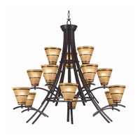 Kenroy Lighting 90088ORB Wright 15 Light 43 inch Oil Rubbed Bronze Chandelier Ceiling Light