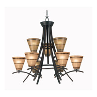 Kenroy Lighting 90089ORB Wright 9 Light 31 inch Oil Rubbed Bronze Chandelier Ceiling Light