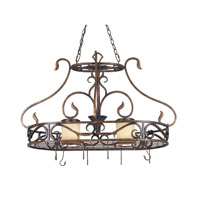 Kenroy Lighting 90505AGC Verona 2 Light 40 inch Aged Golden Copper Pot Rack Ceiling Light
