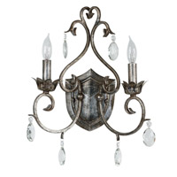 Kenroy Lighting Antoinette 2 Light Sconce in Weathered Silver   91342WS