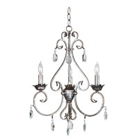Kenroy Lighting Antoinette 3 Light Chandelier in Weathered Silver   91343WS