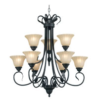 Kenroy Lighting Countryside 9 Light Chandelier in Royal Bronze   91569RBRZ photo thumbnail