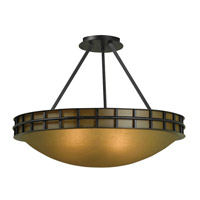 Kenroy Lighting Pane 3 Light Semi Flush in Forged Graphite 91597FGRPH