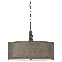 Margot 3 Light 22 inch Oil Rubbed Bronze Pendant Ceiling Light in Bronze Gold Metallic Fabric