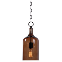 Capri 1 Light 6 inch Oil Rubbed Bronze Mini Pendant Ceiling Light in Amber Glass