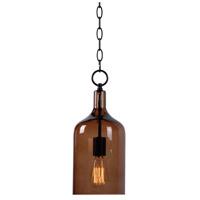Kenroy Lighting 91831AMB Capri 1 Light 6 inch Oil Rubbed Bronze Mini Pendant Ceiling Light in Amber Glass