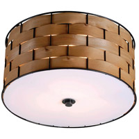 Shaker 3 Light 15 inch Dark Woven Wood Flush Mount Ceiling Light