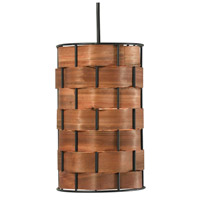 Shaker 1 Light 6 inch Dark Woven Wood Mini Pendant Ceiling Light