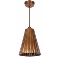 Flute 1 Light 10 inch Flamed Copper Pendant Ceiling Light