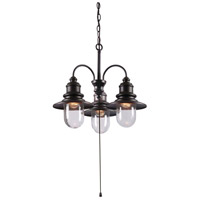 Broadcast 3 Light 21 inch Oil Rubbed Bronze/Copper Outdoor Chandelier