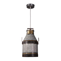 Kenroy Lighting 93046GI Cudahy 1 Light 11 inch Galvanized Iron/Bronze Pendant Ceiling Light