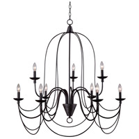 Pannier 9 Light 32 inch Oil Rubbed Bronze/Silver Chandelier Ceiling Light