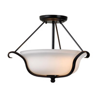 Basket 2 Light 17 inch Oil Rubbed Bronze Semi-Flush Ceiling Light