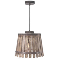 Kenroy Lighting Bushel 1 Light Pendant in Rustic Bronze/Weathered/White Washed Wood 93125RUBRZ