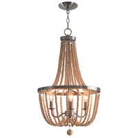 Kenroy Lighting 93133BS Regas 3 Light 17 inch Brushed Steel Chandelier Ceiling Light