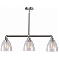 Kenroy Lighting Steam Fitter 3 Light Island Light in Galvanized Metal 93189GM