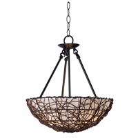 Kenroy Lighting 93307RAT Thicket 3 Light 16 inch Rattan Semi-Flush Ceiling Light