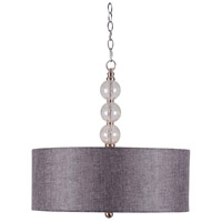 Maya 3 Light 22 inch Brushed Steel/Clear Crackle Glass Ball Pendant Ceiling Light