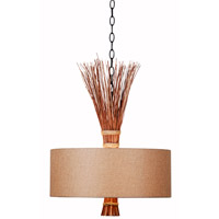 Kenroy Lighting Sheaf 3 Light Pendant in Oil Rubbed Bronze with Natural Reed 93314ORB
