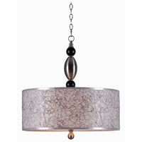 Kenroy Lighting Rapunzel 3 Light Pendant in Brushed Steel with Black Accents 93340BS